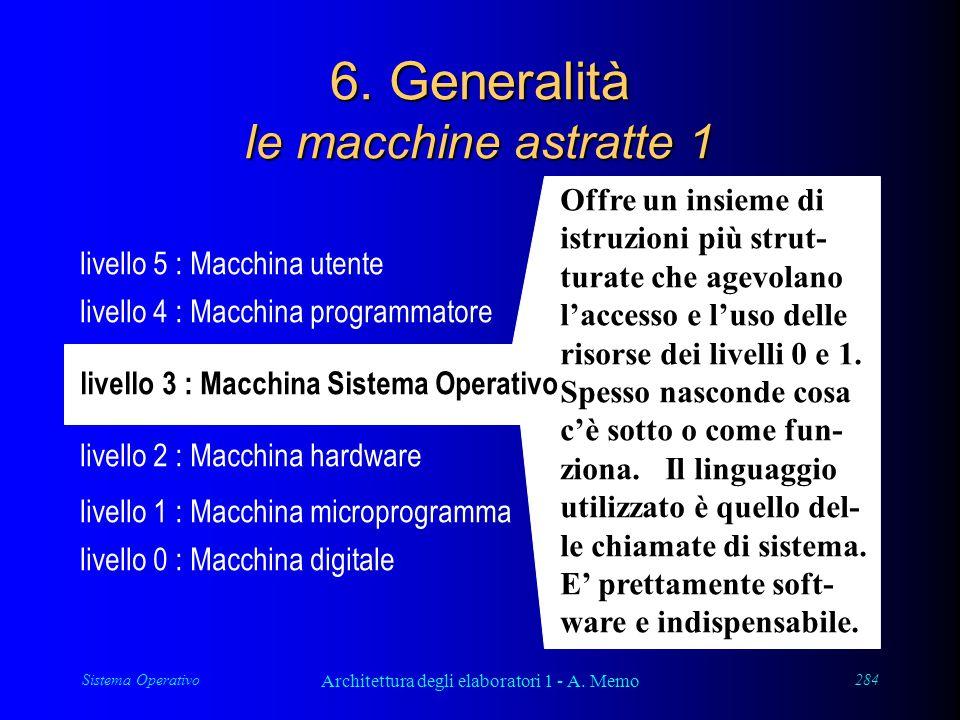 Sistema Operativo Architettura degli elaboratori 1 - A. Memo 284 6. Generalità le macchine astratte 1 livello 4 : Macchina programmatore livello 5 : M