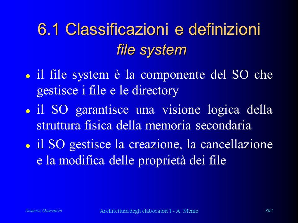 Sistema Operativo Architettura degli elaboratori 1 - A. Memo 304 6.1 Classificazioni e definizioni file system l il file system è la componente del SO