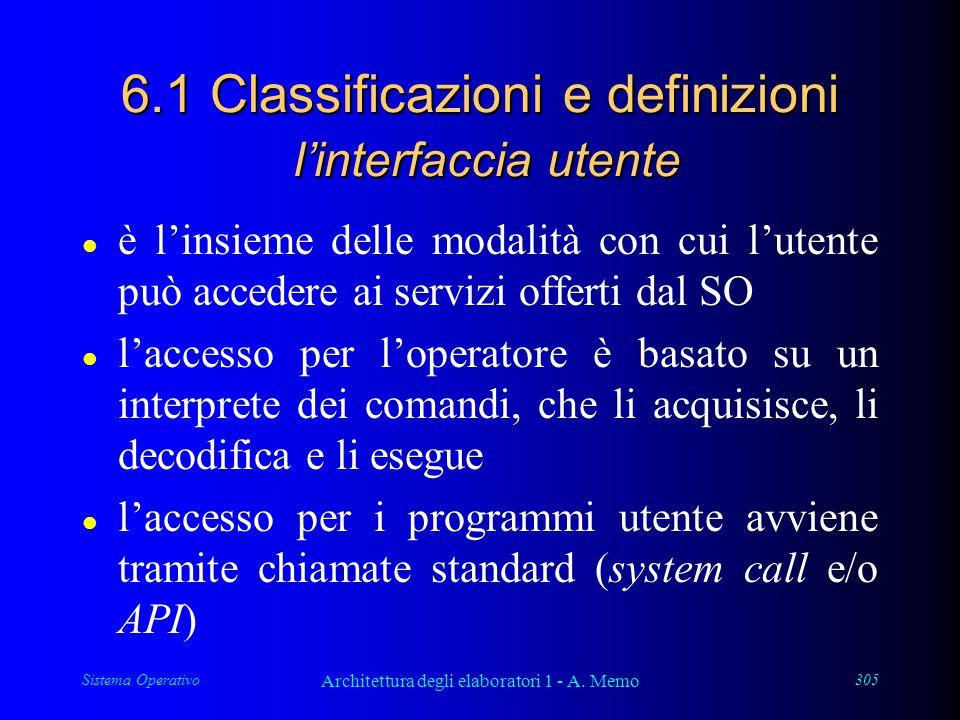Sistema Operativo Architettura degli elaboratori 1 - A. Memo 305 6.1 Classificazioni e definizioni l'interfaccia utente l è l'insieme delle modalità c