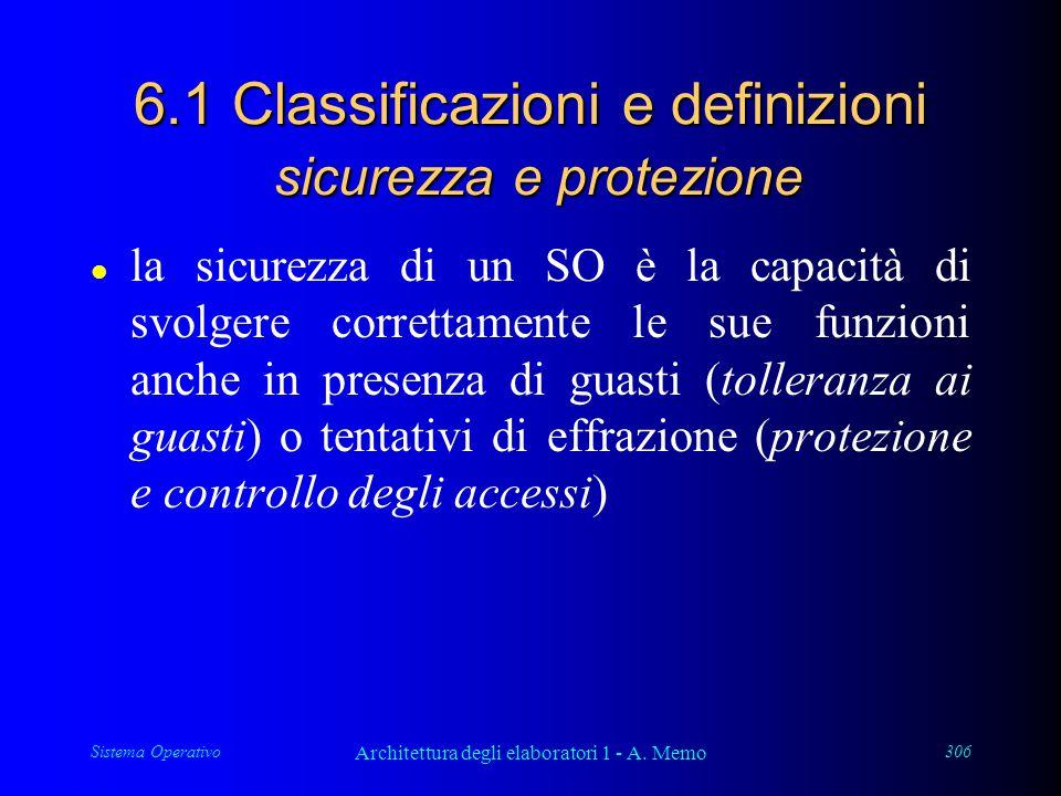 Sistema Operativo Architettura degli elaboratori 1 - A. Memo 306 6.1 Classificazioni e definizioni sicurezza e protezione l la sicurezza di un SO è la