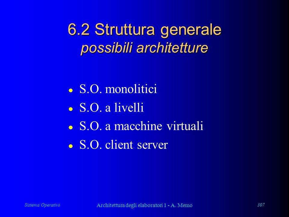 Sistema Operativo Architettura degli elaboratori 1 - A. Memo 307 6.2 Struttura generale possibili architetture l S.O. monolitici l S.O. a livelli l S.