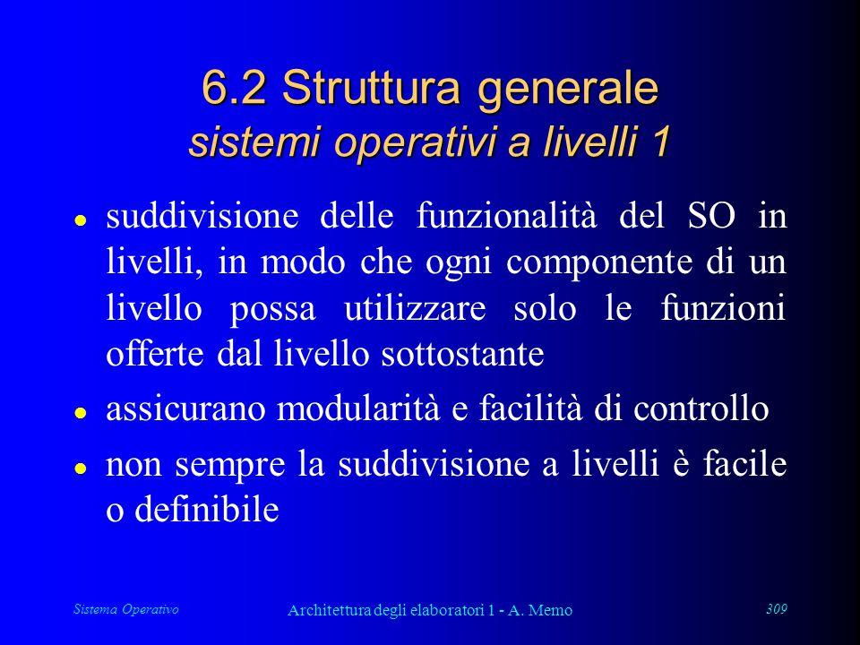 Sistema Operativo Architettura degli elaboratori 1 - A. Memo 309 6.2 Struttura generale sistemi operativi a livelli 1 l suddivisione delle funzionalit