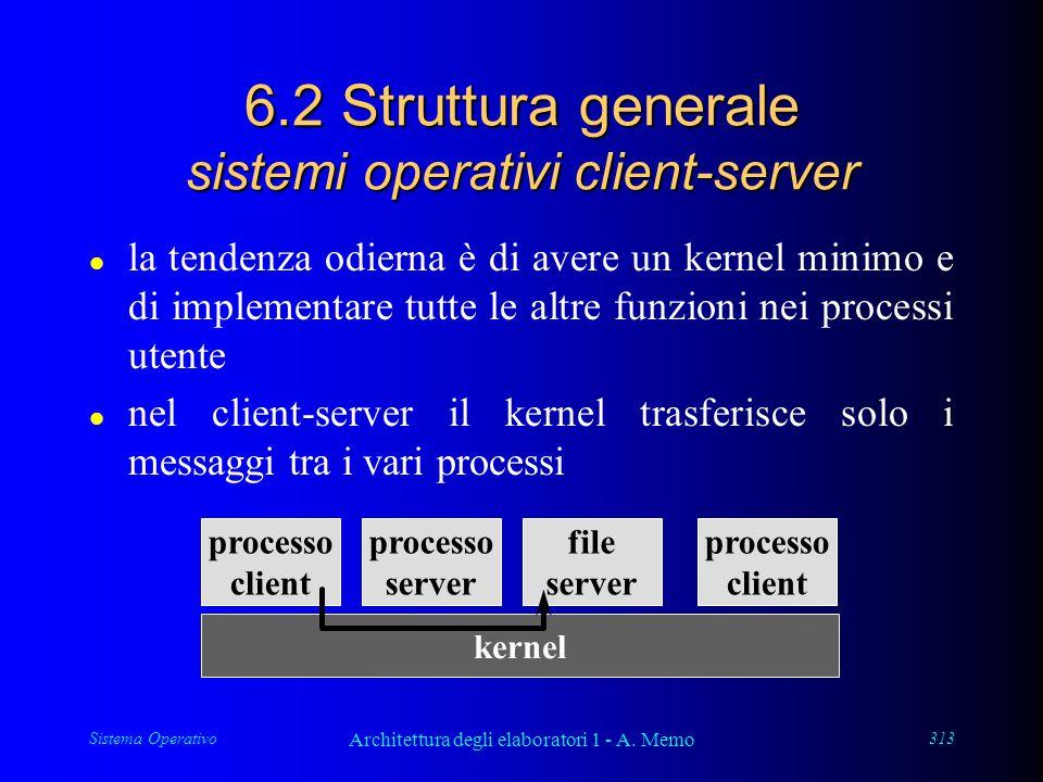 Sistema Operativo Architettura degli elaboratori 1 - A. Memo 313 6.2 Struttura generale sistemi operativi client-server l la tendenza odierna è di ave