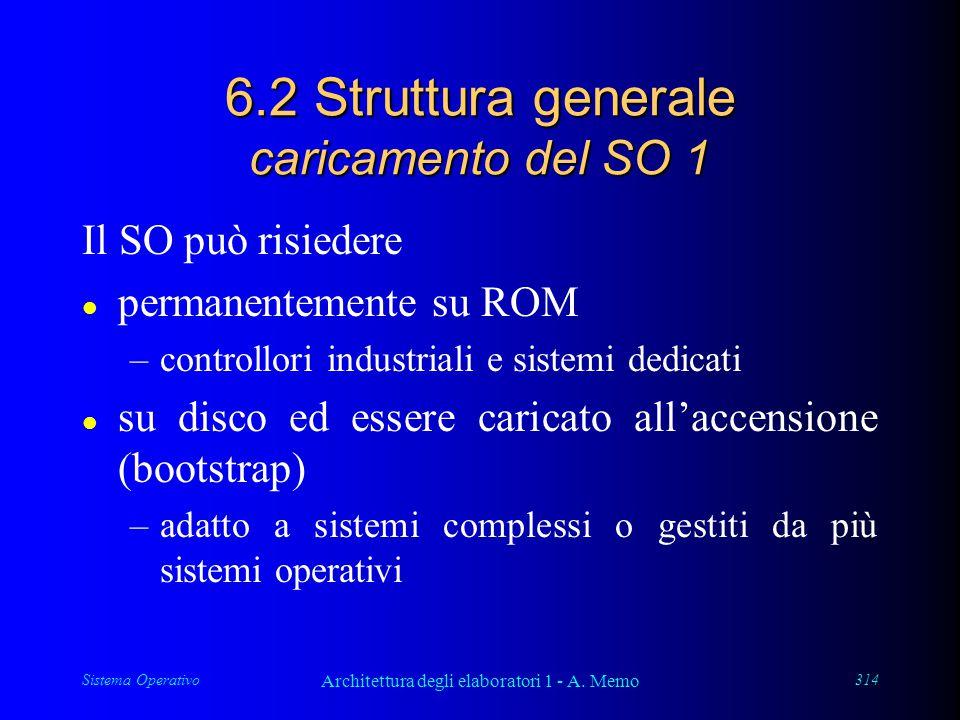 Sistema Operativo Architettura degli elaboratori 1 - A. Memo 314 6.2 Struttura generale caricamento del SO 1 Il SO può risiedere l permanentemente su