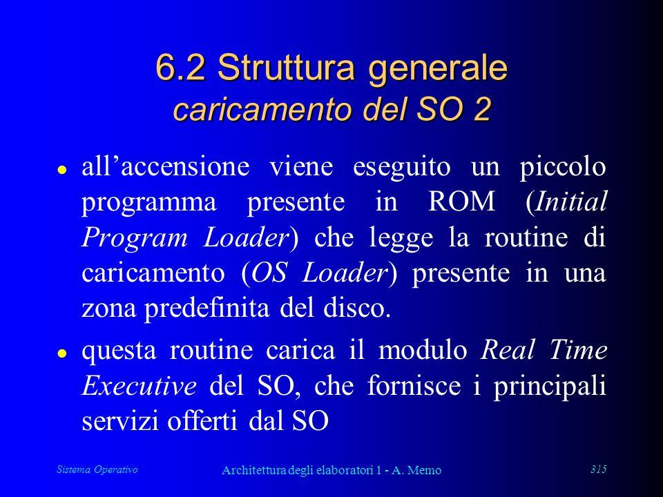 Sistema Operativo Architettura degli elaboratori 1 - A. Memo 315 6.2 Struttura generale caricamento del SO 2 l all'accensione viene eseguito un piccol