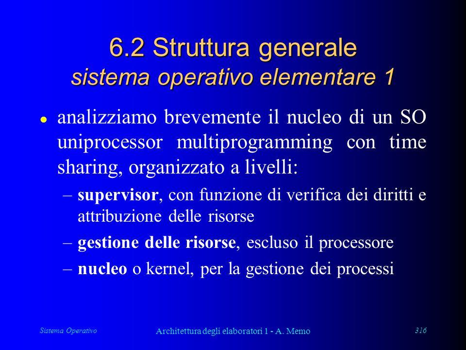 Sistema Operativo Architettura degli elaboratori 1 - A. Memo 316 6.2 Struttura generale sistema operativo elementare 1 l analizziamo brevemente il nuc