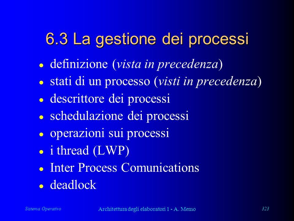 Sistema Operativo Architettura degli elaboratori 1 - A. Memo 323 6.3 La gestione dei processi l definizione (vista in precedenza) l stati di un proces
