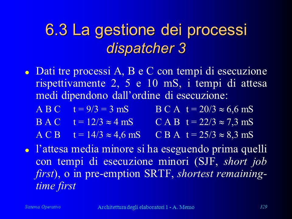 Sistema Operativo Architettura degli elaboratori 1 - A. Memo 329 6.3 La gestione dei processi dispatcher 3 l Dati tre processi A, B e C con tempi di e