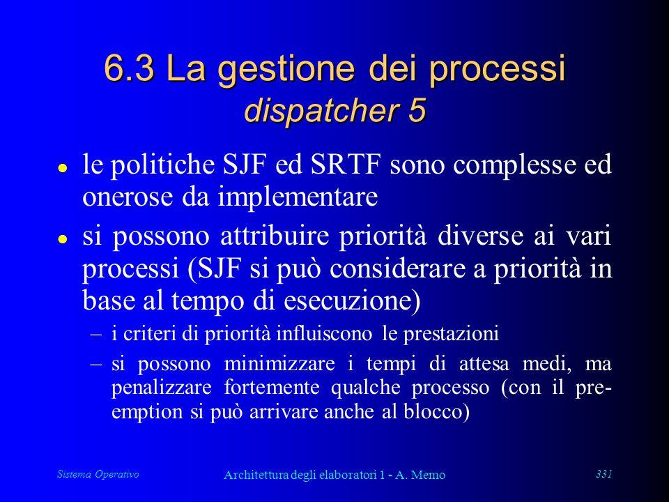 Sistema Operativo Architettura degli elaboratori 1 - A. Memo 331 6.3 La gestione dei processi dispatcher 5 l le politiche SJF ed SRTF sono complesse e