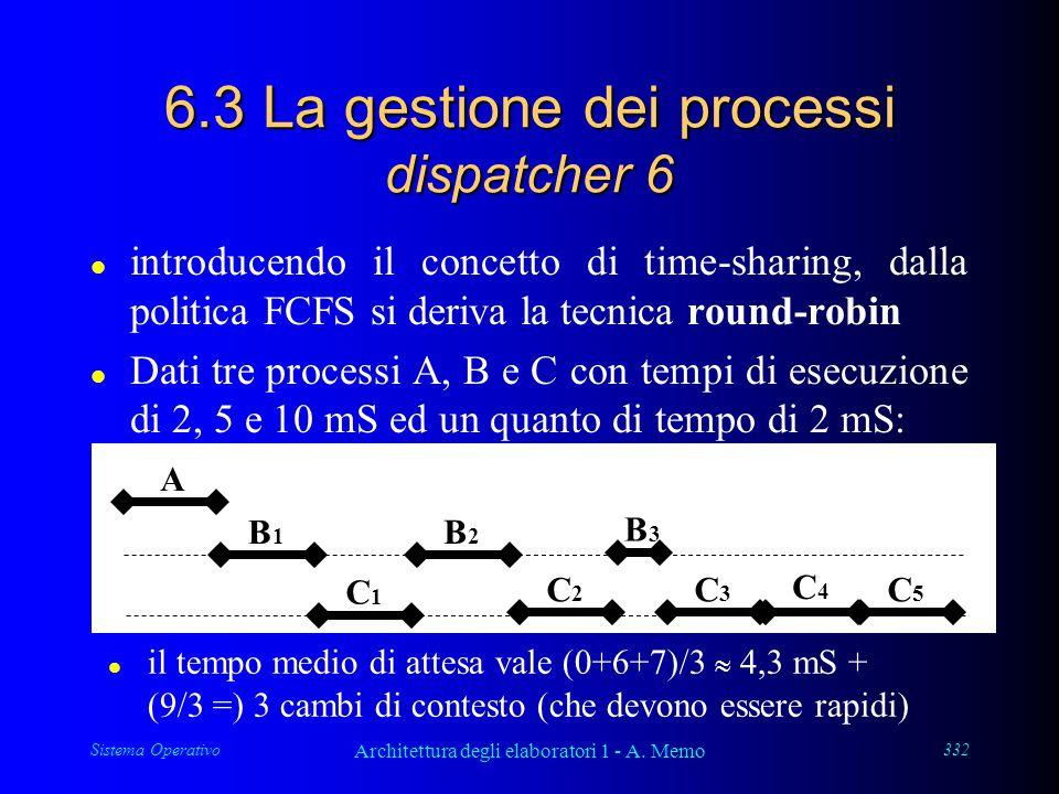 Sistema Operativo Architettura degli elaboratori 1 - A. Memo 332 6.3 La gestione dei processi dispatcher 6 l introducendo il concetto di time-sharing,