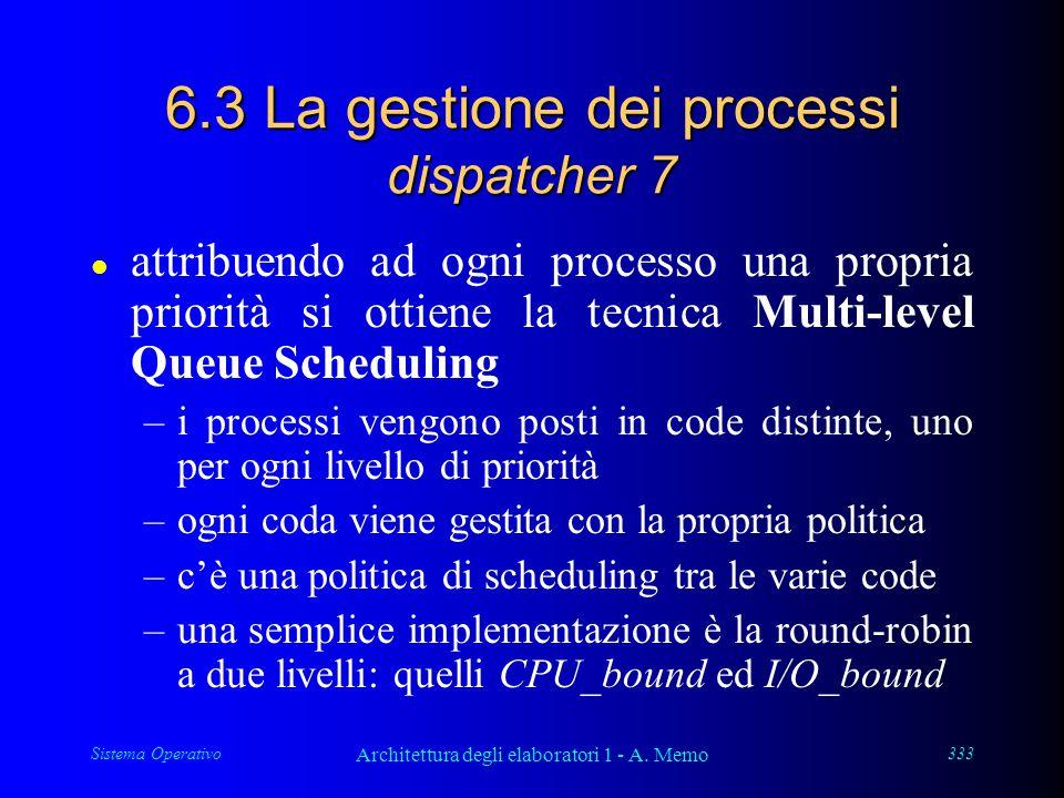 Sistema Operativo Architettura degli elaboratori 1 - A. Memo 333 6.3 La gestione dei processi dispatcher 7 l attribuendo ad ogni processo una propria