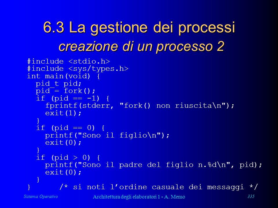 Sistema Operativo Architettura degli elaboratori 1 - A. Memo 335 6.3 La gestione dei processi creazione di un processo 2 #include int main(void) { pid