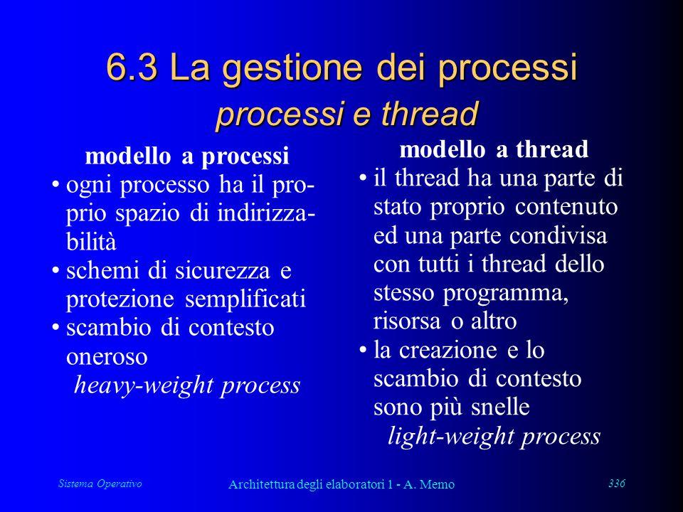 Sistema Operativo Architettura degli elaboratori 1 - A. Memo 336 6.3 La gestione dei processi processi e thread modello a processi ogni processo ha il