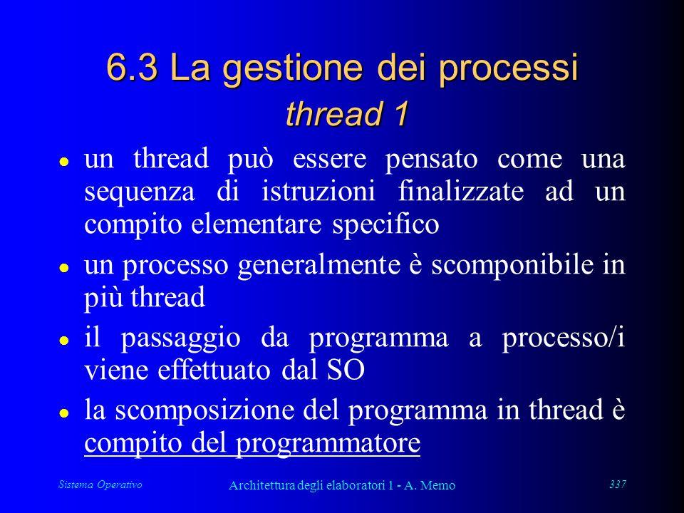 Sistema Operativo Architettura degli elaboratori 1 - A. Memo 337 6.3 La gestione dei processi thread 1 l un thread può essere pensato come una sequenz
