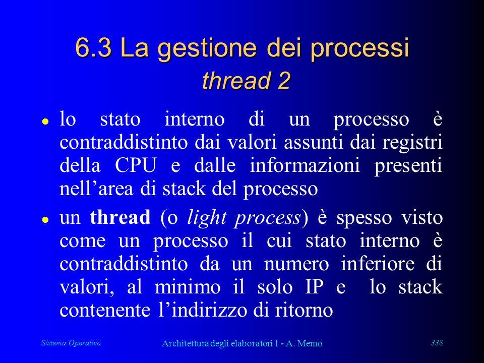 Sistema Operativo Architettura degli elaboratori 1 - A. Memo 338 6.3 La gestione dei processi thread 2 l lo stato interno di un processo è contraddist
