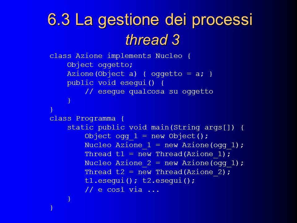 6.3 La gestione dei processi thread 3 class Azione implements Nucleo { Object oggetto; Azione(Object a) { oggetto = a; } public void esegui() { // ese