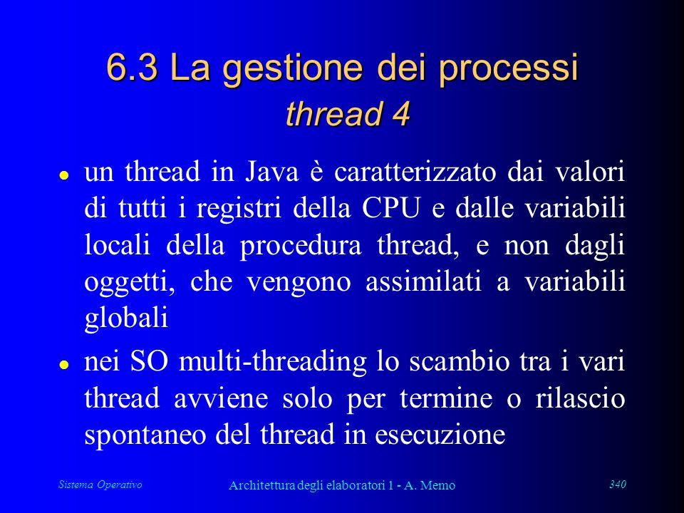 Sistema Operativo Architettura degli elaboratori 1 - A. Memo 340 6.3 La gestione dei processi thread 4 l un thread in Java è caratterizzato dai valori
