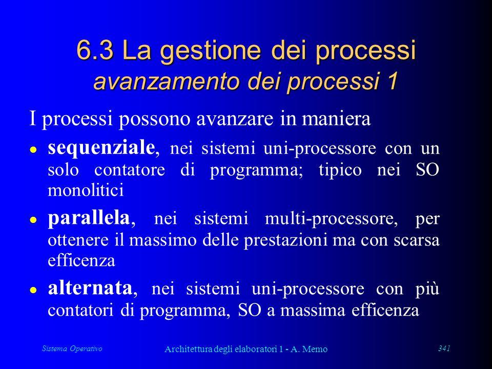 Sistema Operativo Architettura degli elaboratori 1 - A. Memo 341 6.3 La gestione dei processi avanzamento dei processi 1 I processi possono avanzare i