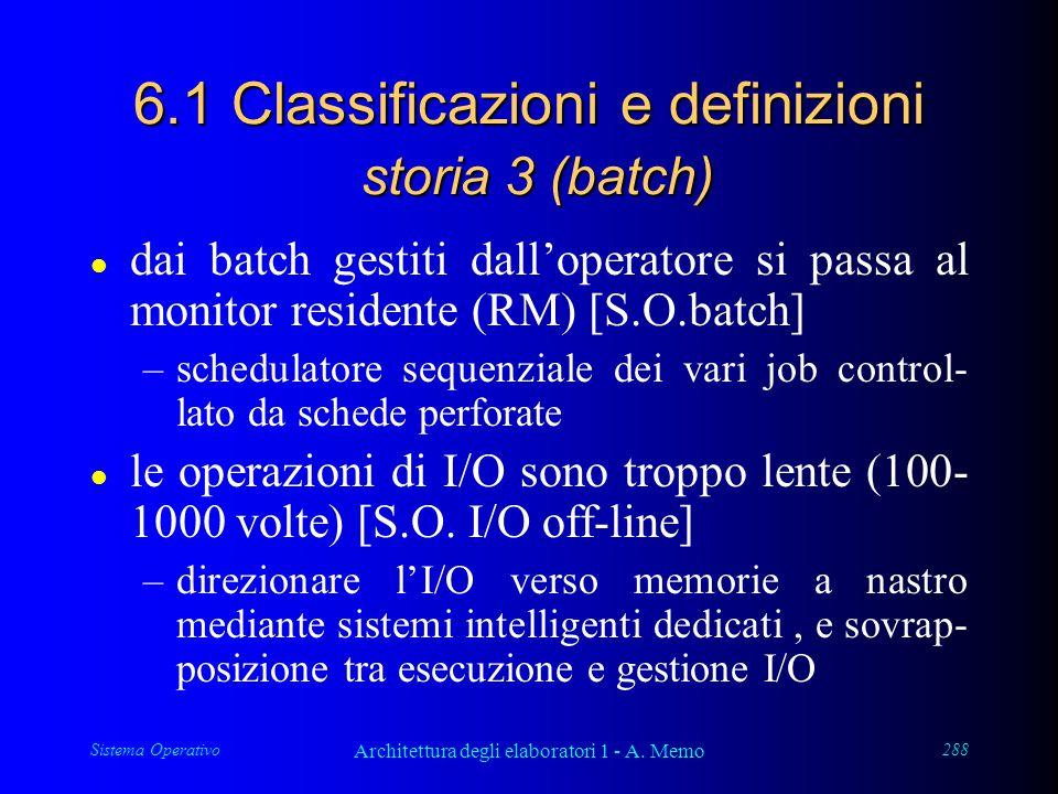 Sistema Operativo Architettura degli elaboratori 1 - A. Memo 288 6.1 Classificazioni e definizioni storia 3 (batch) l dai batch gestiti dall'operatore