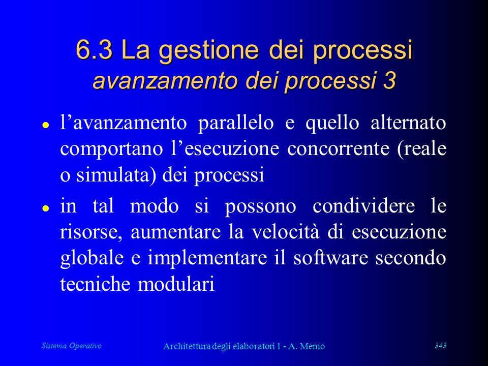 Sistema Operativo Architettura degli elaboratori 1 - A. Memo 343 6.3 La gestione dei processi avanzamento dei processi 3 l l'avanzamento parallelo e q
