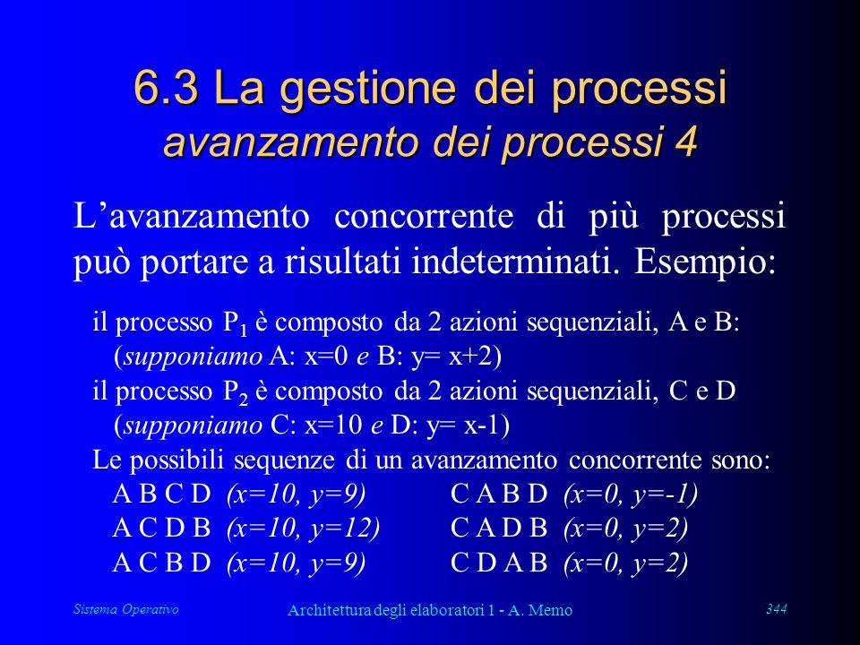 Sistema Operativo Architettura degli elaboratori 1 - A. Memo 344 6.3 La gestione dei processi avanzamento dei processi 4 L'avanzamento concorrente di