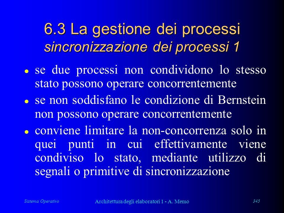 Sistema Operativo Architettura degli elaboratori 1 - A. Memo 345 6.3 La gestione dei processi sincronizzazione dei processi 1 l se due processi non co