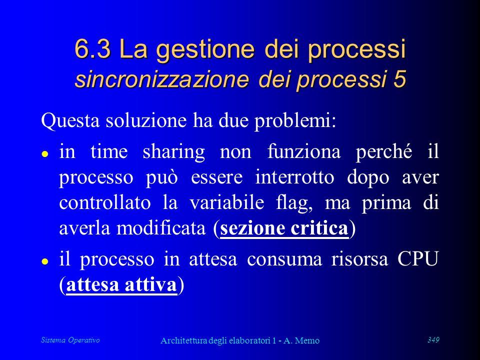 Sistema Operativo Architettura degli elaboratori 1 - A. Memo 349 6.3 La gestione dei processi sincronizzazione dei processi 5 Questa soluzione ha due