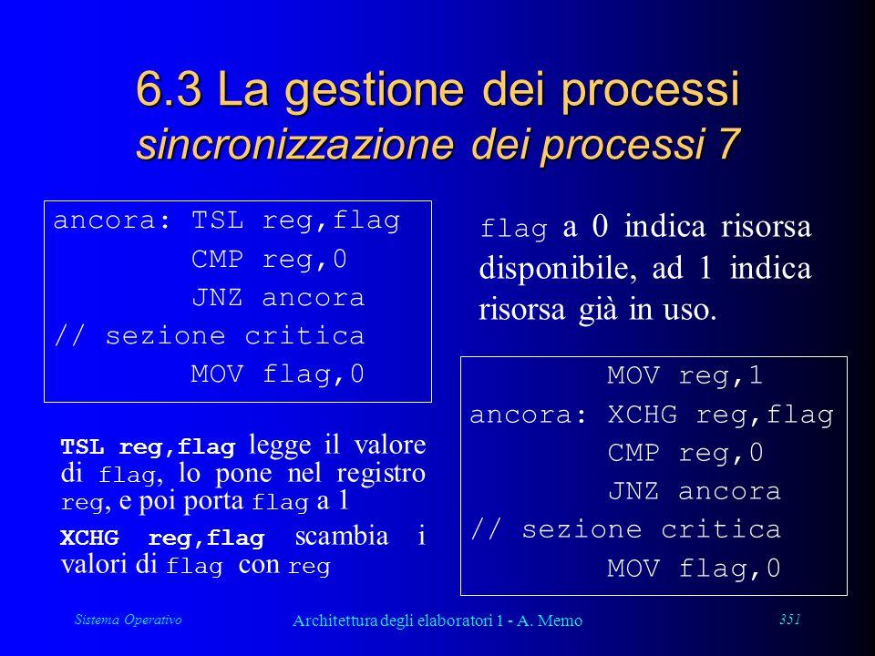 Sistema Operativo Architettura degli elaboratori 1 - A. Memo 351 6.3 La gestione dei processi sincronizzazione dei processi 7 ancora: TSL reg,flag CMP