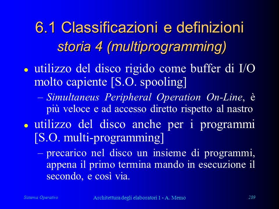 Sistema Operativo Architettura degli elaboratori 1 - A. Memo 289 6.1 Classificazioni e definizioni storia 4 (multiprogramming) l utilizzo del disco ri