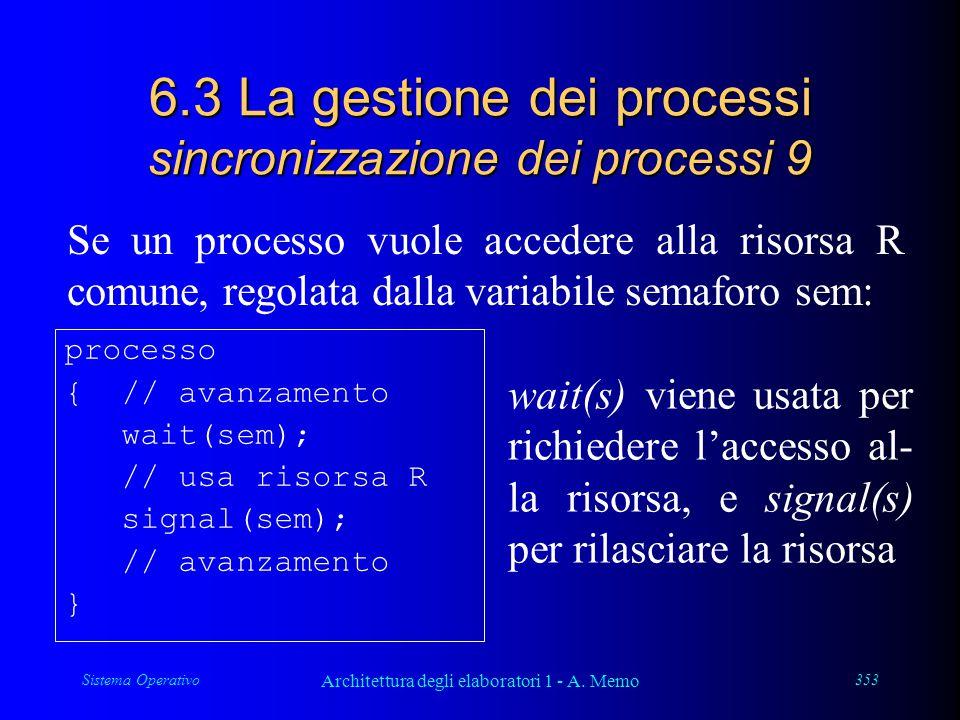 Sistema Operativo Architettura degli elaboratori 1 - A. Memo 353 6.3 La gestione dei processi sincronizzazione dei processi 9 Se un processo vuole acc