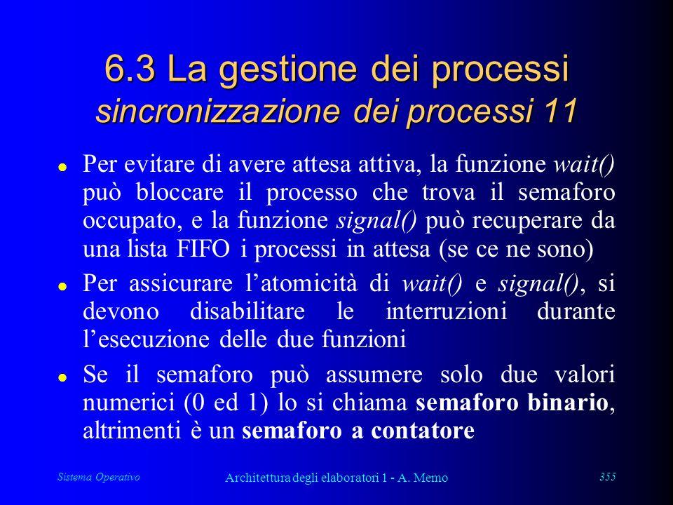 Sistema Operativo Architettura degli elaboratori 1 - A. Memo 355 6.3 La gestione dei processi sincronizzazione dei processi 11 l Per evitare di avere