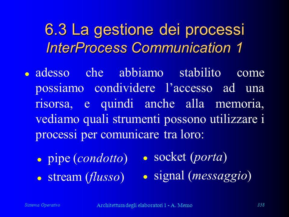 Sistema Operativo Architettura degli elaboratori 1 - A. Memo 358 6.3 La gestione dei processi InterProcess Communication 1 l adesso che abbiamo stabil
