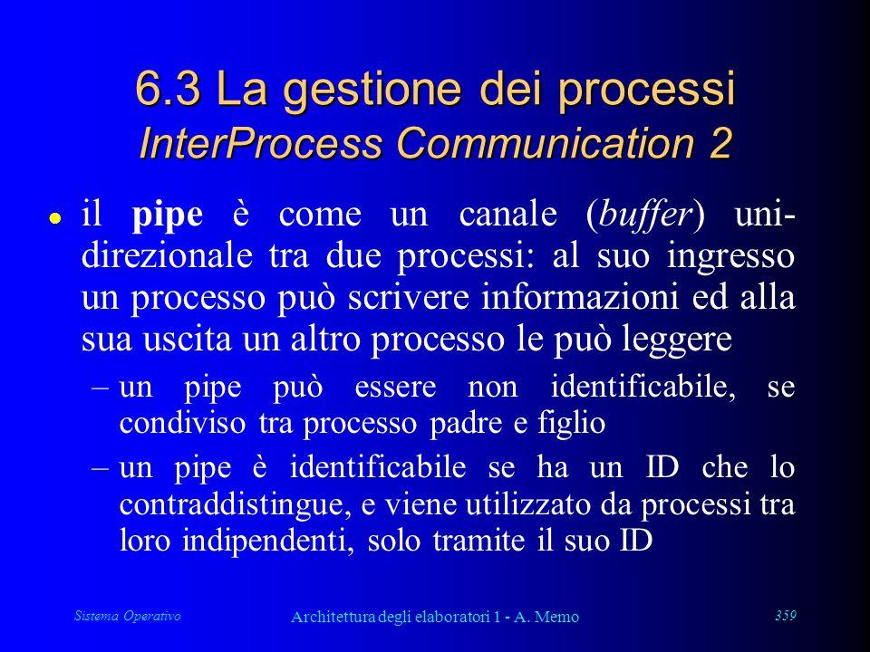 Sistema Operativo Architettura degli elaboratori 1 - A. Memo 359 6.3 La gestione dei processi InterProcess Communication 2 l il pipe è come un canale