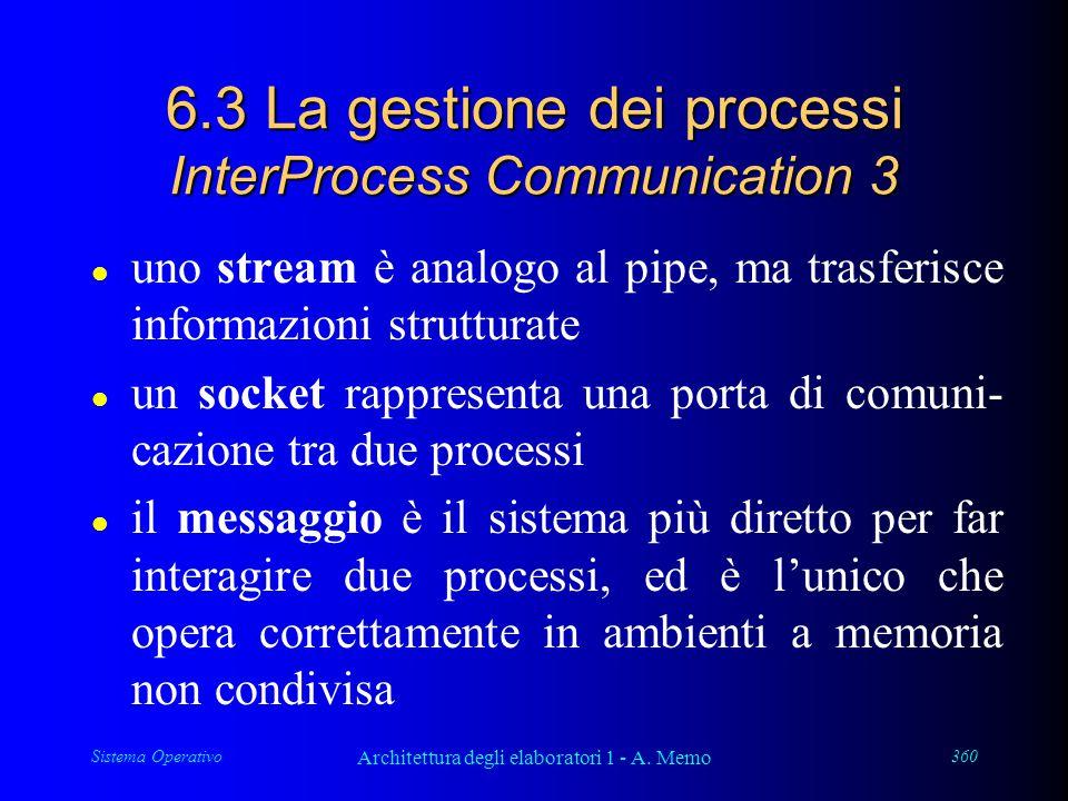 Sistema Operativo Architettura degli elaboratori 1 - A. Memo 360 6.3 La gestione dei processi InterProcess Communication 3 l uno stream è analogo al p