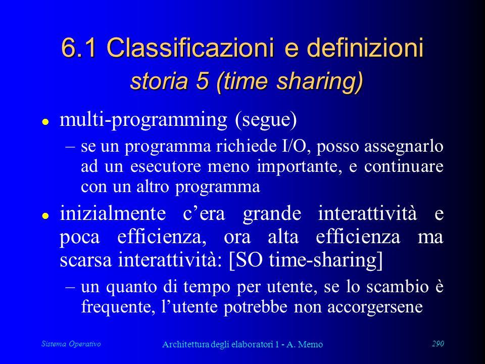Sistema Operativo Architettura degli elaboratori 1 - A. Memo 290 6.1 Classificazioni e definizioni storia 5 (time sharing) l multi-programming (segue)