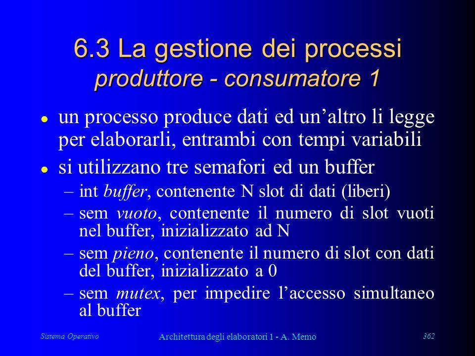Sistema Operativo Architettura degli elaboratori 1 - A. Memo 362 6.3 La gestione dei processi produttore - consumatore 1 l un processo produce dati ed