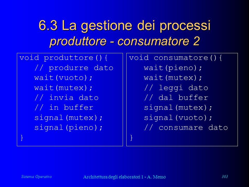 Sistema Operativo Architettura degli elaboratori 1 - A. Memo 363 6.3 La gestione dei processi produttore - consumatore 2 void produttore(){ // produrr