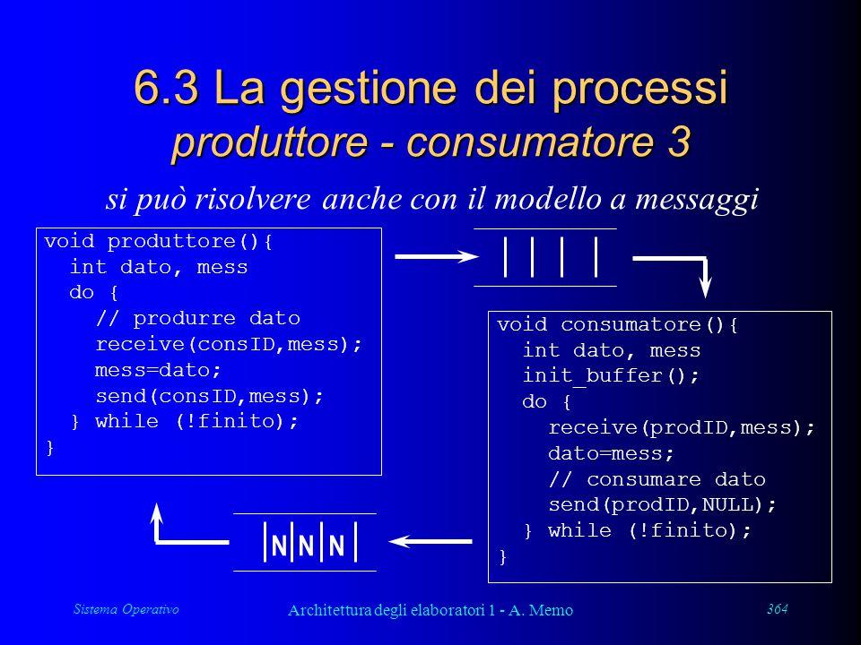 Sistema Operativo Architettura degli elaboratori 1 - A. Memo 364 6.3 La gestione dei processi produttore - consumatore 3 si può risolvere anche con il