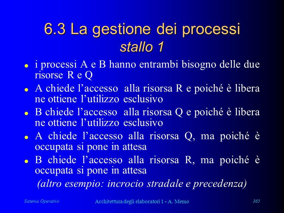 Sistema Operativo Architettura degli elaboratori 1 - A. Memo 365 6.3 La gestione dei processi stallo 1 l i processi A e B hanno entrambi bisogno delle