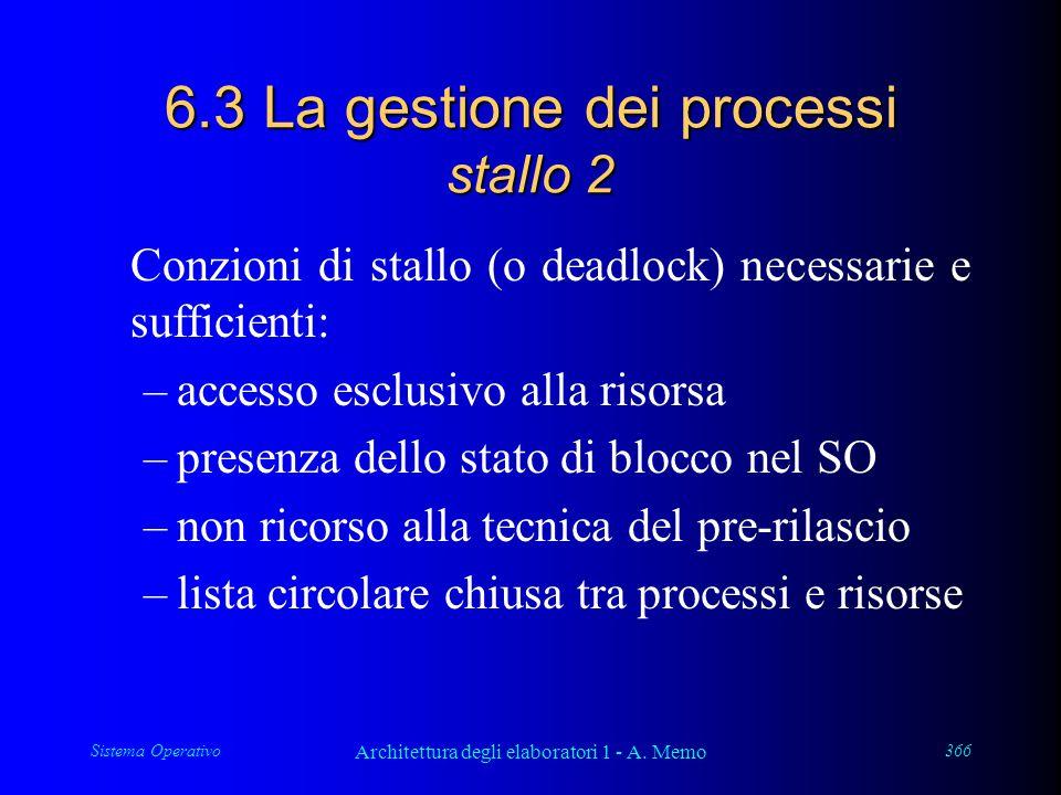 Sistema Operativo Architettura degli elaboratori 1 - A. Memo 366 6.3 La gestione dei processi stallo 2 Conzioni di stallo (o deadlock) necessarie e su