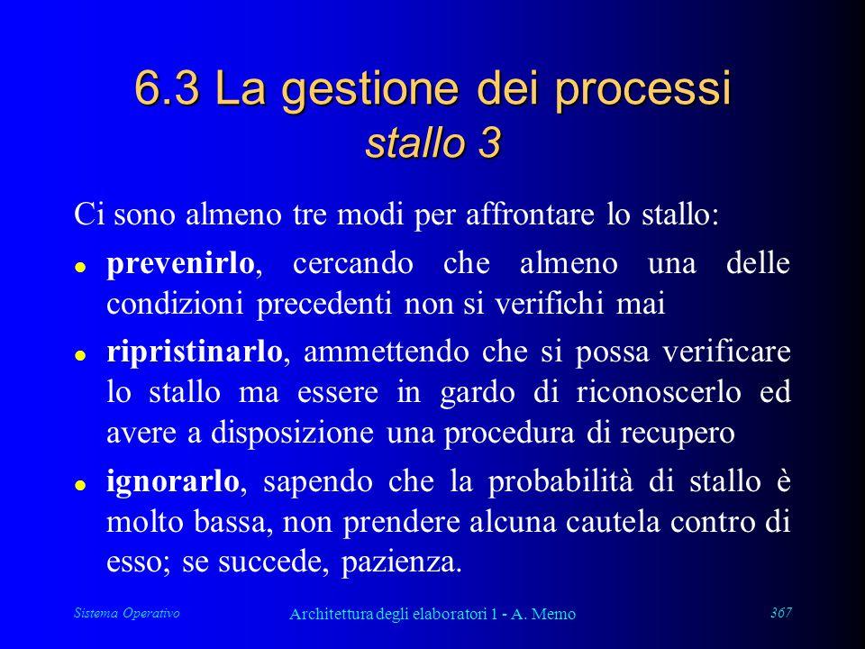 Sistema Operativo Architettura degli elaboratori 1 - A. Memo 367 6.3 La gestione dei processi stallo 3 Ci sono almeno tre modi per affrontare lo stall