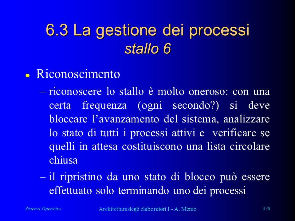 Sistema Operativo Architettura degli elaboratori 1 - A. Memo 370 6.3 La gestione dei processi stallo 6 l Riconoscimento –riconoscere lo stallo è molto