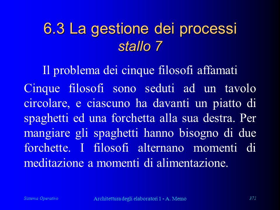 Sistema Operativo Architettura degli elaboratori 1 - A. Memo 371 6.3 La gestione dei processi stallo 7 Il problema dei cinque filosofi affamati Cinque