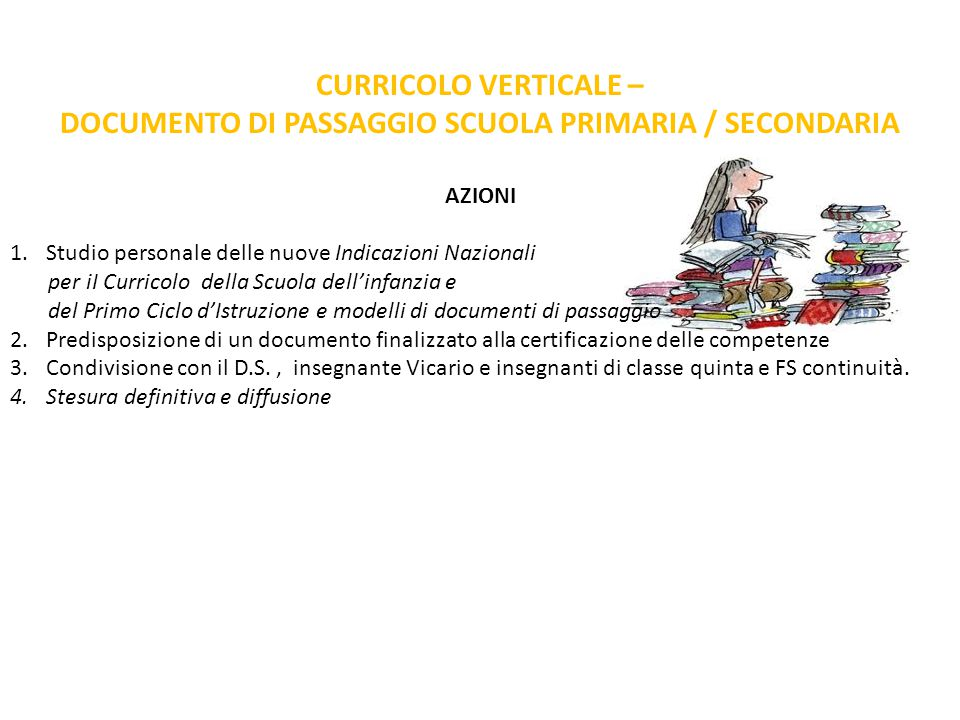 CURRICOLO VERTICALE – DOCUMENTO DI PASSAGGIO SCUOLA PRIMARIA / SECONDARIA AZIONI 1.Studio personale delle nuove Indicazioni Nazionali per iI Curricolo