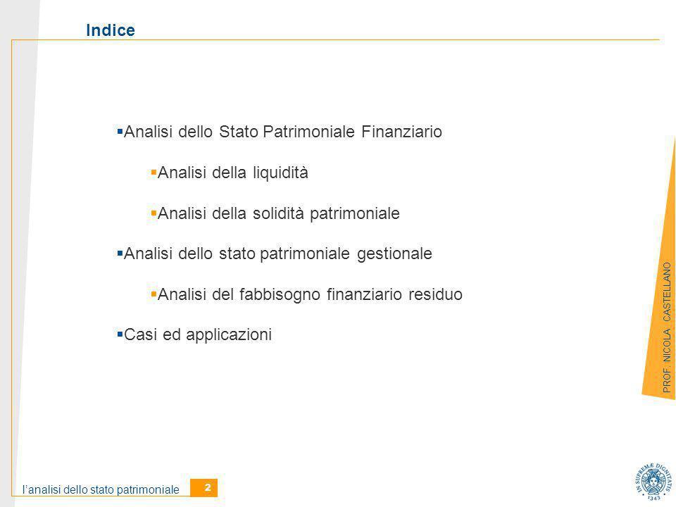 l'analisi dello stato patrimoniale 2 PROF.