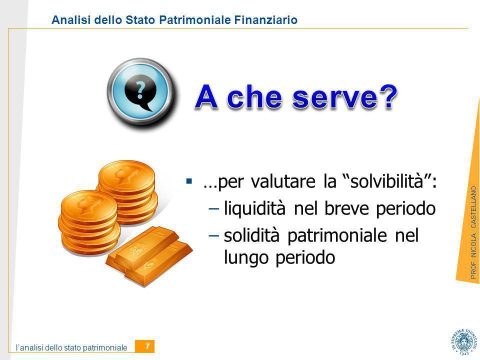 l'analisi dello stato patrimoniale 7 PROF.