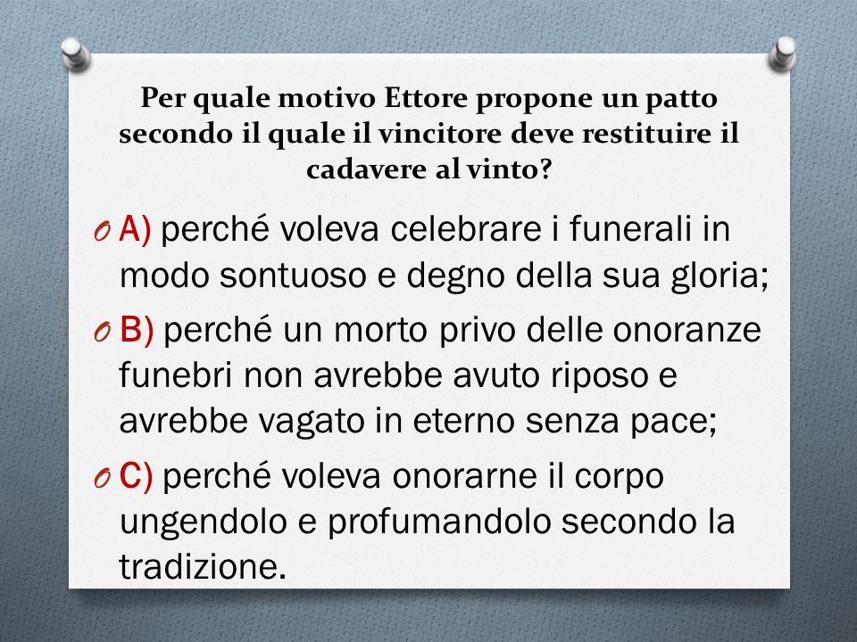 Per quale motivo Ettore propone un patto secondo il quale il vincitore deve restituire il cadavere al vinto.