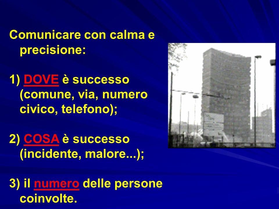 Comunicare con calma e precisione: 1) DOVE è successo (comune, via, numero civico, telefono); 2) COSA è successo (incidente, malore...); 3) il numero delle persone coinvolte.