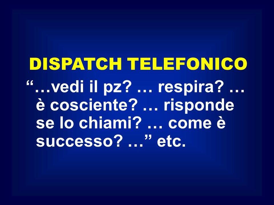 """DISPATCH TELEFONICO """"…vedi il pz? … respira? … è cosciente? … risponde se lo chiami? … come è successo? …"""" etc."""