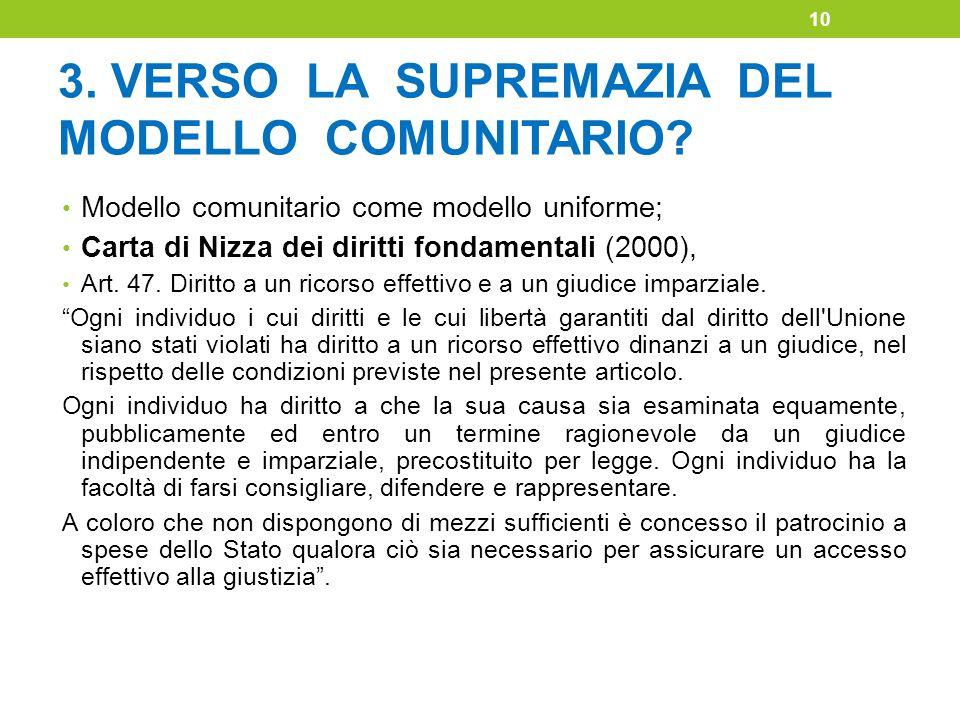 3. VERSO LA SUPREMAZIA DEL MODELLO COMUNITARIO? Modello comunitario come modello uniforme; Carta di Nizza dei diritti fondamentali (2000), Art. 47. Di